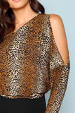 OPEN ONE SHOULDER LEOPARD TEE