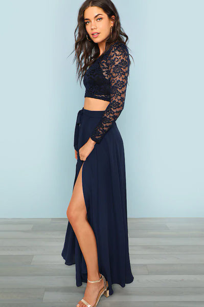 NAVY CROP LACE TOP AND KNOT SKIRT SET