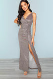 SURPLICE NECK RUCHED FRONT SLIT GLITTER DRESS