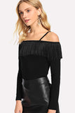 COLD SHOULDER FRINGE FOLDOVER FITTED TEE