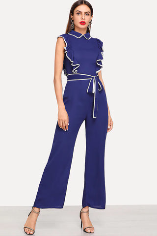 CONTRAST PANEL SIDE WIDE LEG PANTS