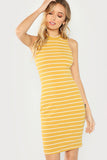 RIB KNIT STRIPED DRESS