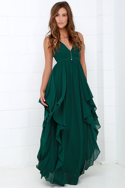 7b3061f5d675 RUFFLE GREEN CHIFFON MAXI DRESS – Rare Collect