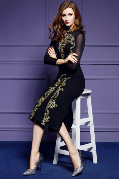 BLACK SHEER EMBROIDERED LONG DRESS