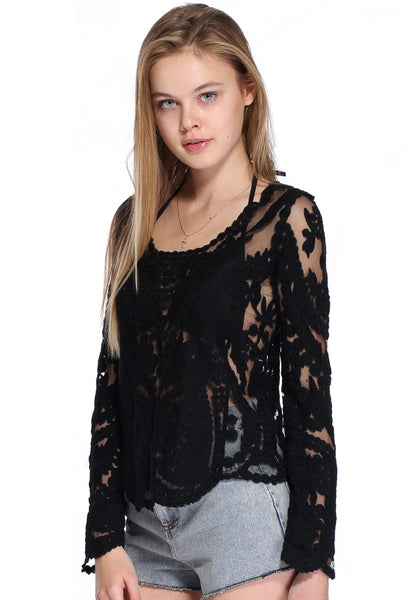 BLACK CASUAL WOVEN TOP