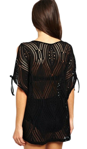 Black Open Knit Cover Up