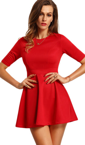 Red High Waist Skater Skirt