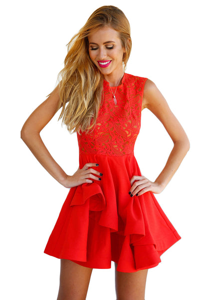 Cherry Red Lace Skater Dress