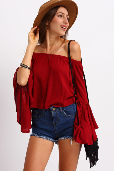 5cc9897a95a57 PLUM OFF THE SHOULDER BELL SLEEVE TOP – Rare Collect