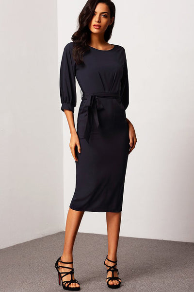 NAVY BELTED MIDI DRESS