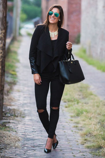 BLACK WATERFALL JACKET WITH LEATHER ACCENTS