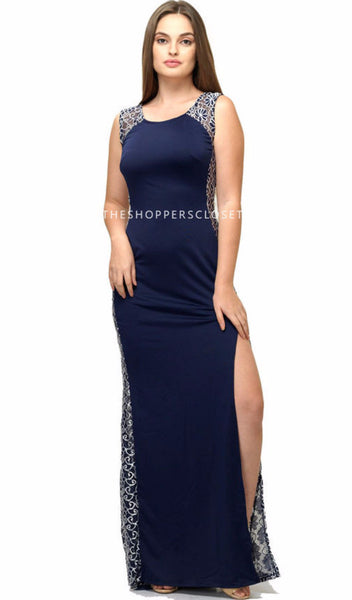 Blue Maxi with Lace Border