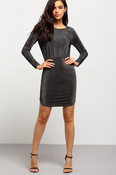 CLASSY BLACK LONG SLEEVE SEQUIN LOOK DRESS