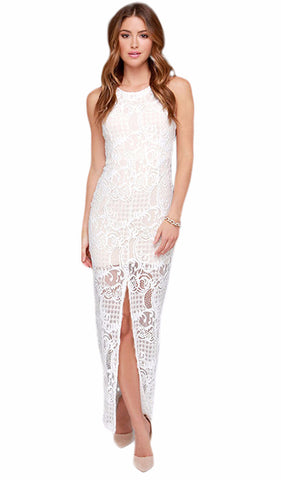 LACE CONTRAST MESH PLEATED HIGH WAIST DRESS