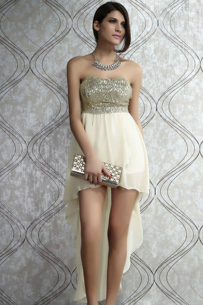 CHAMPAGNE HIGH LOW DRESS