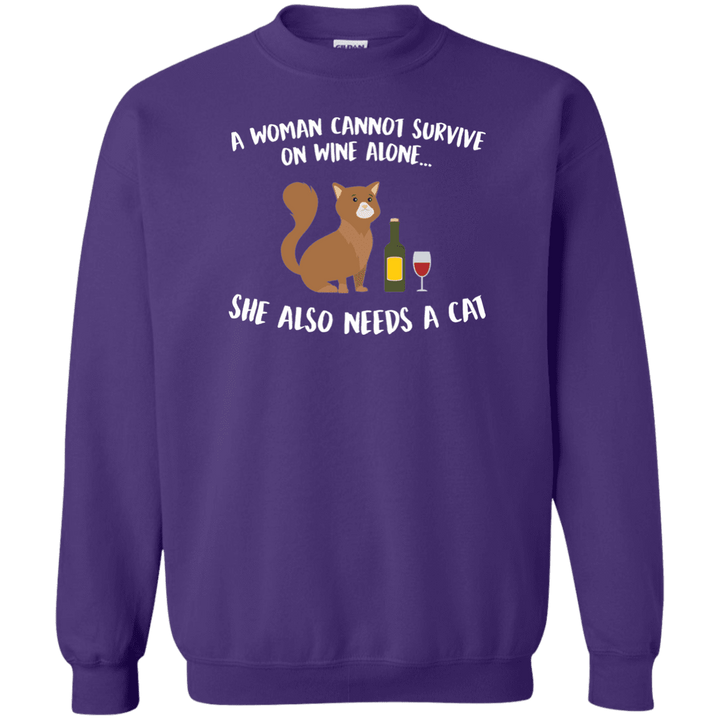 A Woman Cannot Survive Cat - Sweatshirt Rescuers Club