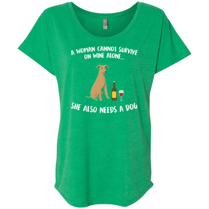 A Woman Cannot Survive On Wine Alone - Slouchy Tee Rescuers Club