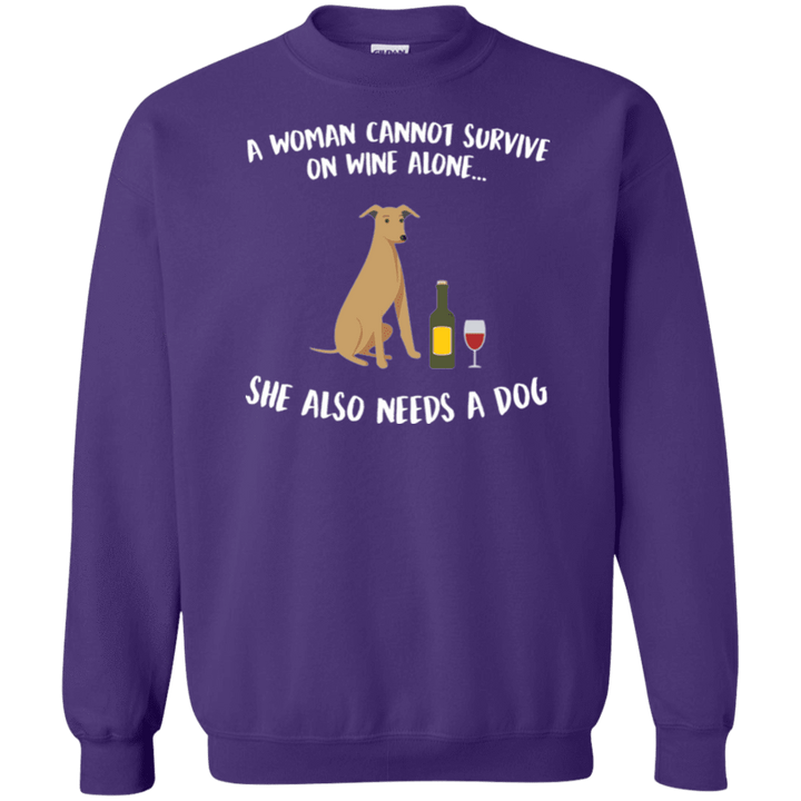 A Woman Cannot Survive On Wine Alone - Sweatshirt Rescuers Club