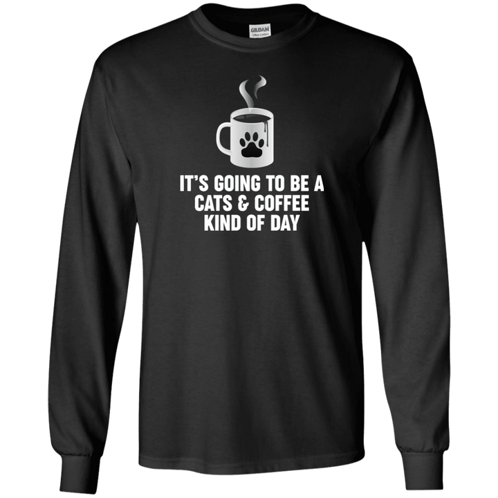 Cats And Coffee - Long Sleeve T Shirt Rescuers Club