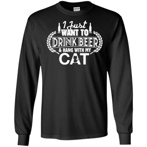 Drink Beer Hang With My Cat - Long Sleeve T Shirt Rescuers Club