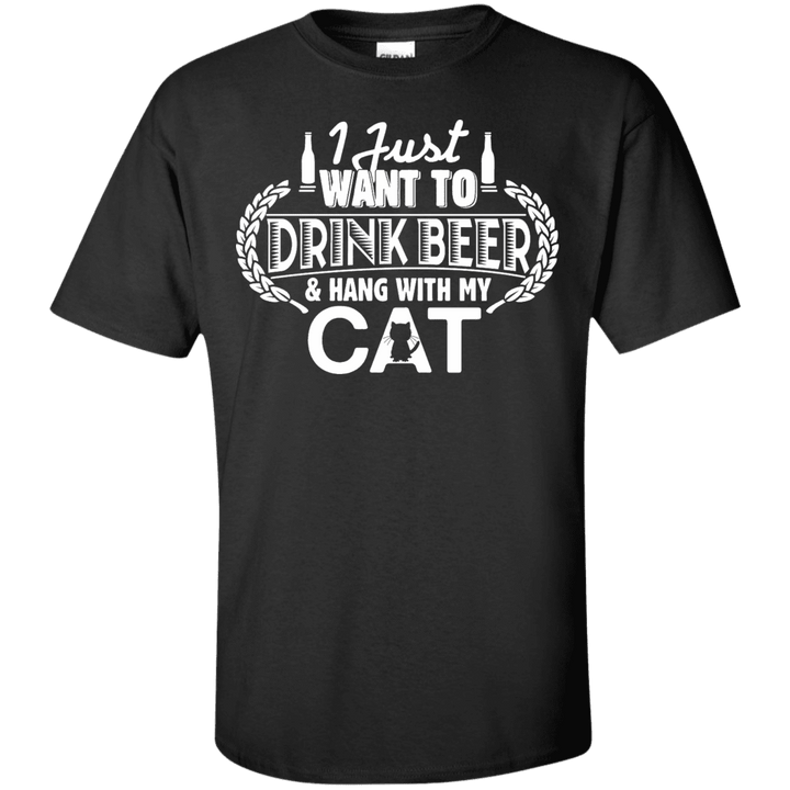 Drink Beer Hang With My Cat - T Shirt Rescuers Club