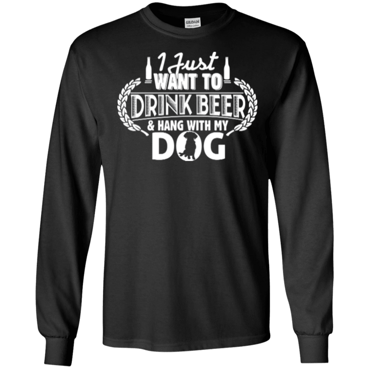 Drink Beer Hang With My Dog - Long Sleeve T Shirt Rescuers Club
