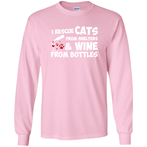 I Rescue Cats And Wine - Long Sleeve T Shirt Rescuers Club