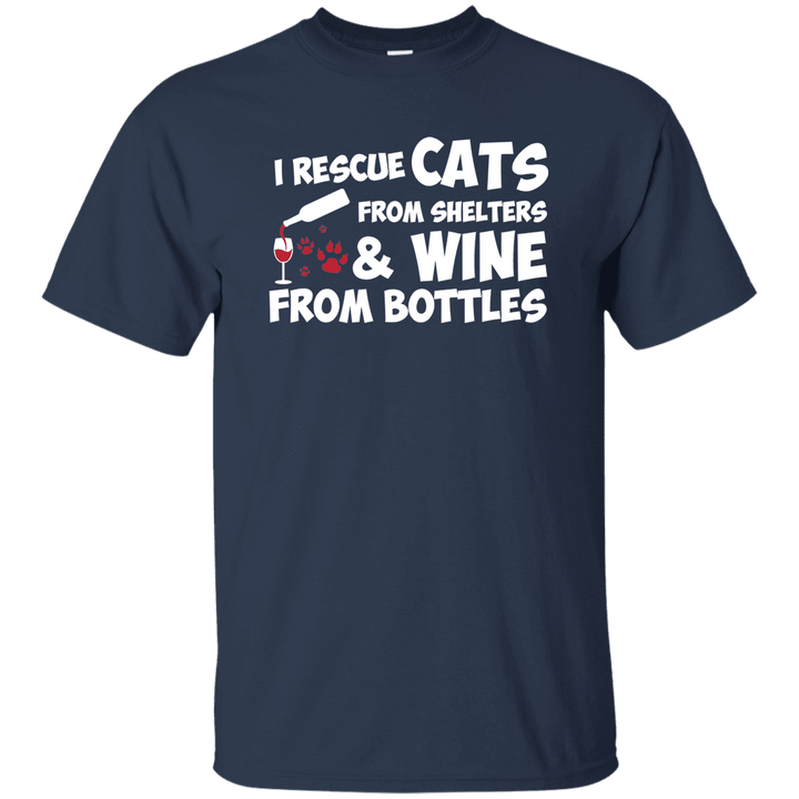 I Rescue Cats And Wine - T Shirt Rescuers Club
