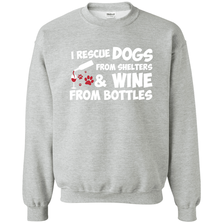 I Rescue Dogs And Wine - Sweatshirt Rescuers Club