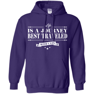 Life Is a Journey Best Travelled With Cats - Hoodie Rescuers Club