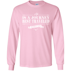 Life Is a Journey Best Travelled With Cats - Long Sleeve  T Shirt Rescuers Club