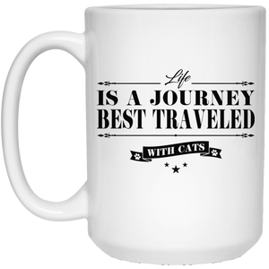 Life Is a Journey Best Travelled With Cats - Mugs Rescuers Club
