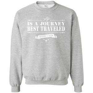 Life Is a Journey Best Travelled With Cats - Sweatshirt Rescuers Club