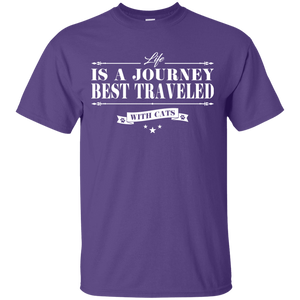 Life Is a Journey Best Travelled With Cats - T Shirt Rescuers Club