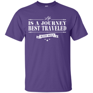 Life Is a Journey Best Travelled With Dogs - T Shirt Rescuers Club