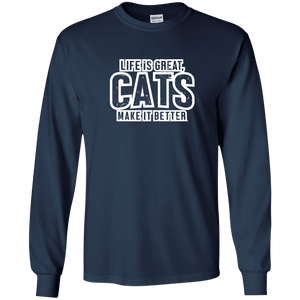 Life Is Great Cats - Long Sleeve T Shirt Rescuers Club
