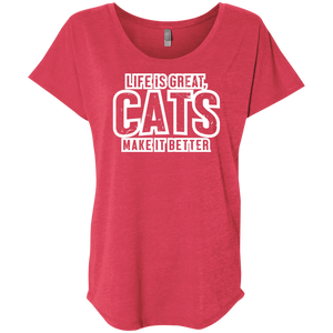 Life Is Great Cats - Slouchy Tee Rescuers Club