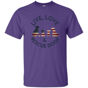 Live Love and Rescue Dogs - T Shirt Rescuers Club