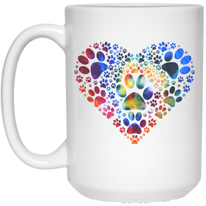 Multi-Colored Pawprint Heart - Mugs Rescuers Club