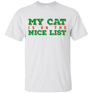 My Cat Is On The Nice List - White T Shirt Rescuers Club