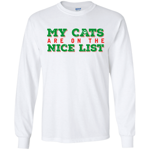 My Cats Are On The Nice List - White Long Sleeve T-Shirt Rescuers Club