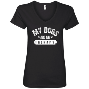 My Dogs Are My Therapy - Ladies V Neck Rescuers Club