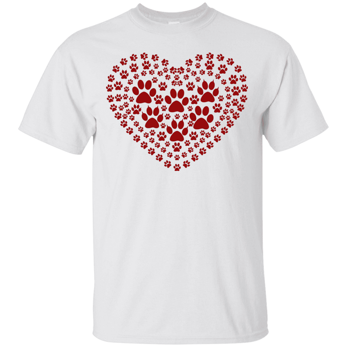 Pawprint Heart - T Shirt Rescuers Club