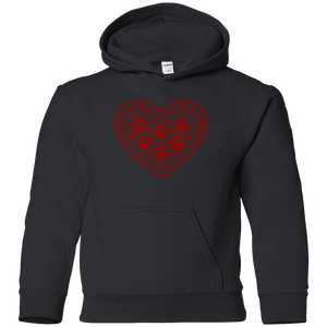 Pawprint Heart - Youth Hoodie Rescuers Club