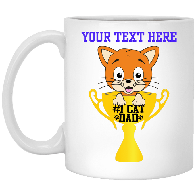 Personalized #1 Cat Dad - Mug Rescuers Club