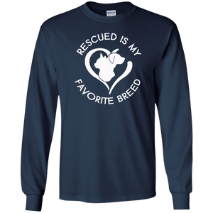 Rescued Is My Favorite Breed Logo - Long Sleeve T Shirt Rescuers Club