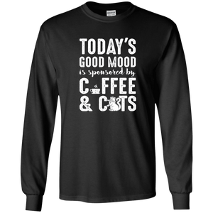 Today's Good Mood Coffee & Cats - Long Sleeve T Shirt Rescuers Club