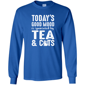 Today's Good Mood Tea & Cats - Long Sleeve T Shirt Rescuers Club