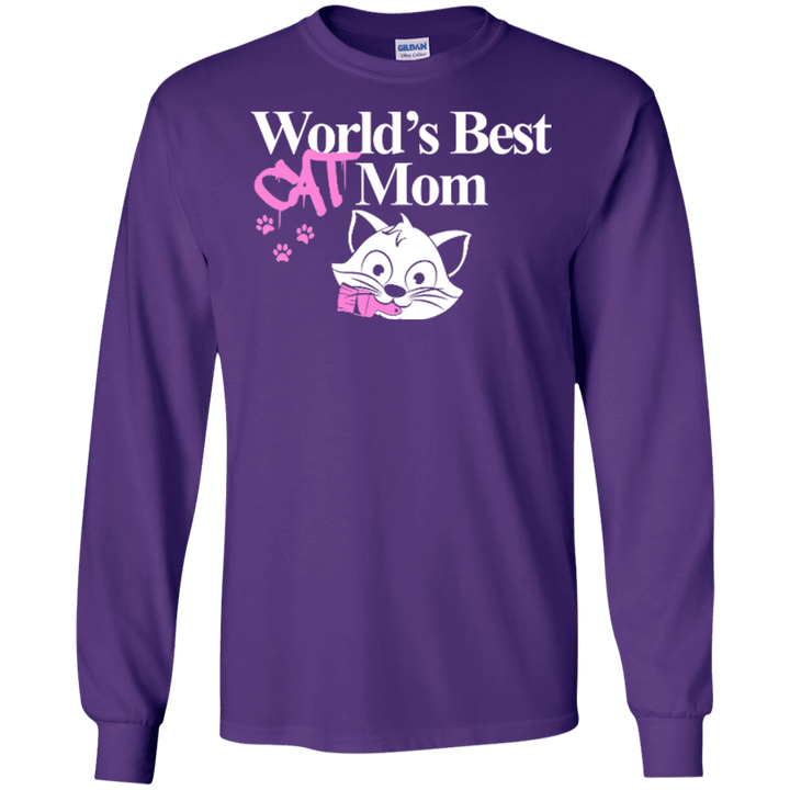 World's Best Cat Mom - Long Sleeve T Shirt Rescuers Club