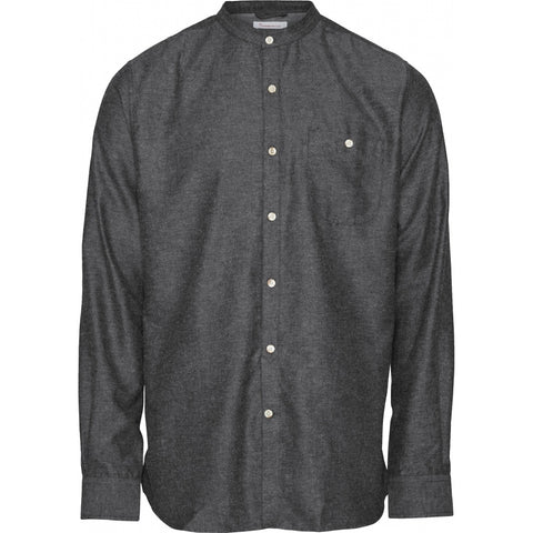 Knowledge Cotton Apparel ELDER melange flannel shirt stand collar Shirt 1073 Dark Grey Melange